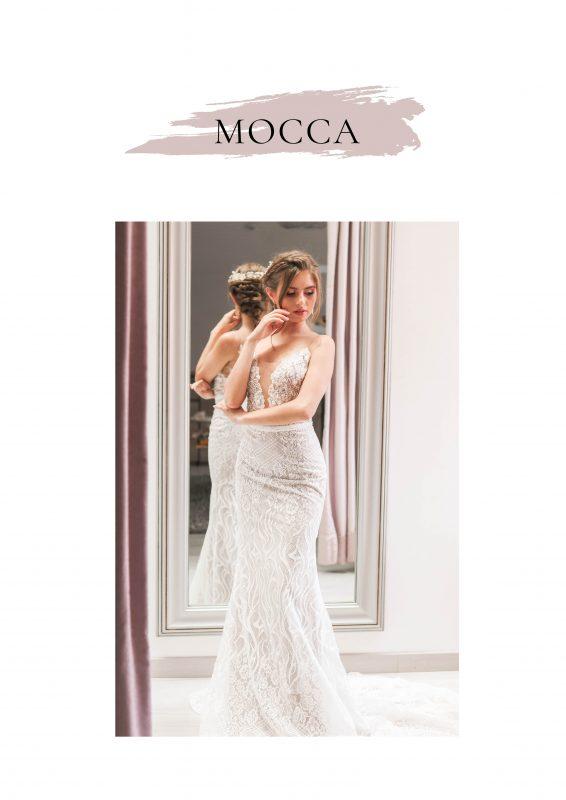 vestido de novia color mocca