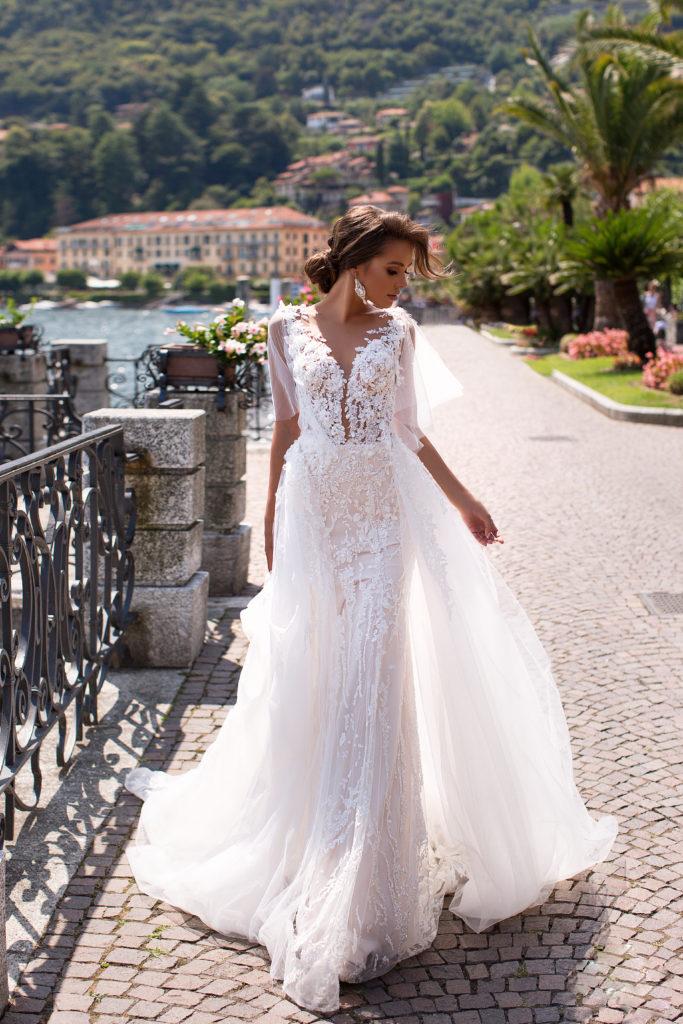 vestido de novia sirena con mangas colección 2020 para alquiler en bogota