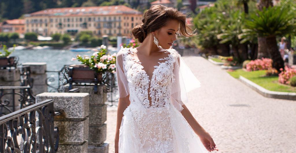 vestido de novia sirena con escote profundo y mangas coleccion 2020 bogota