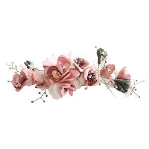 tocado novia flores rosa