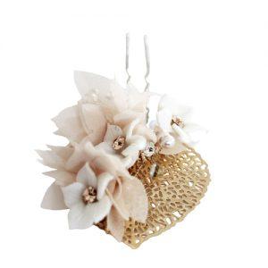 Pin novia hoja dorada y florecitas